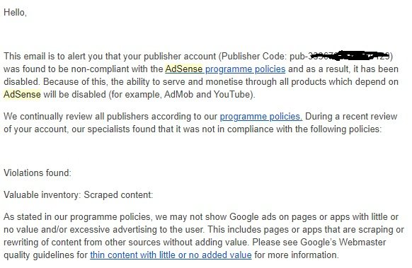 Adsense account disabled email alert sent by Google